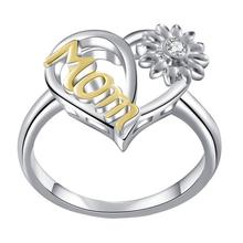 Fashion Sun Flower Sunflower Heart Ring for Women New Love Mom Mothers Day Jewelry Gift