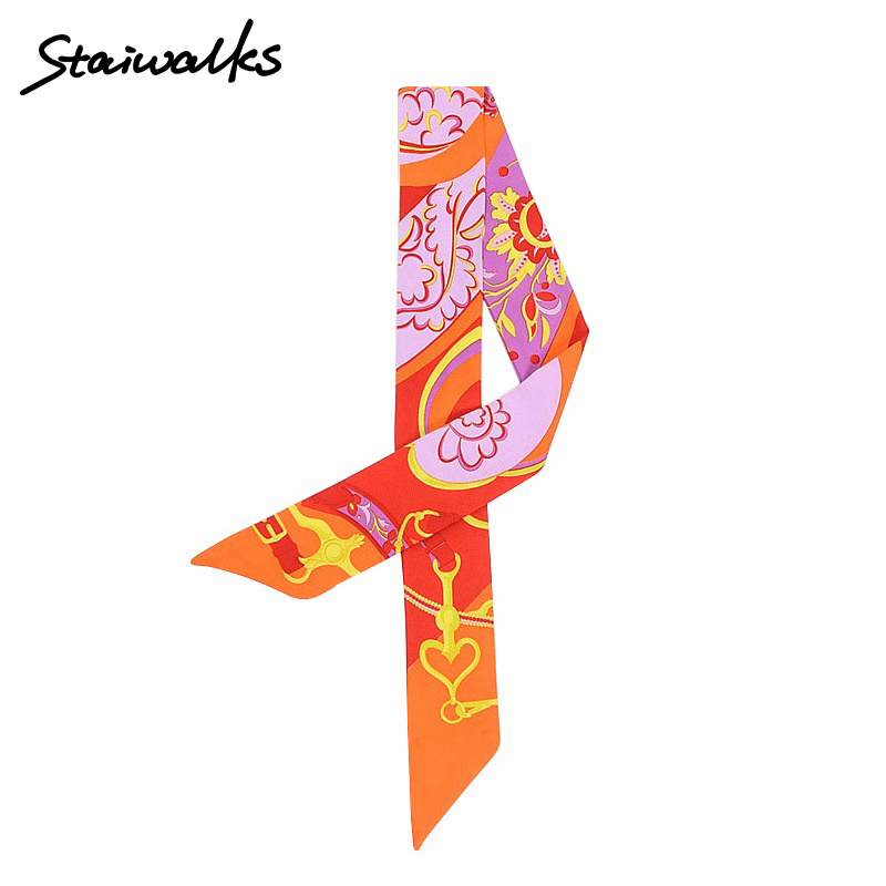 Staiwalks Women Skinny Scarfs Heart-shaped Flower Print Twilly Headband Spring Summer Decoration For Handbag Hair Wrist Fashion