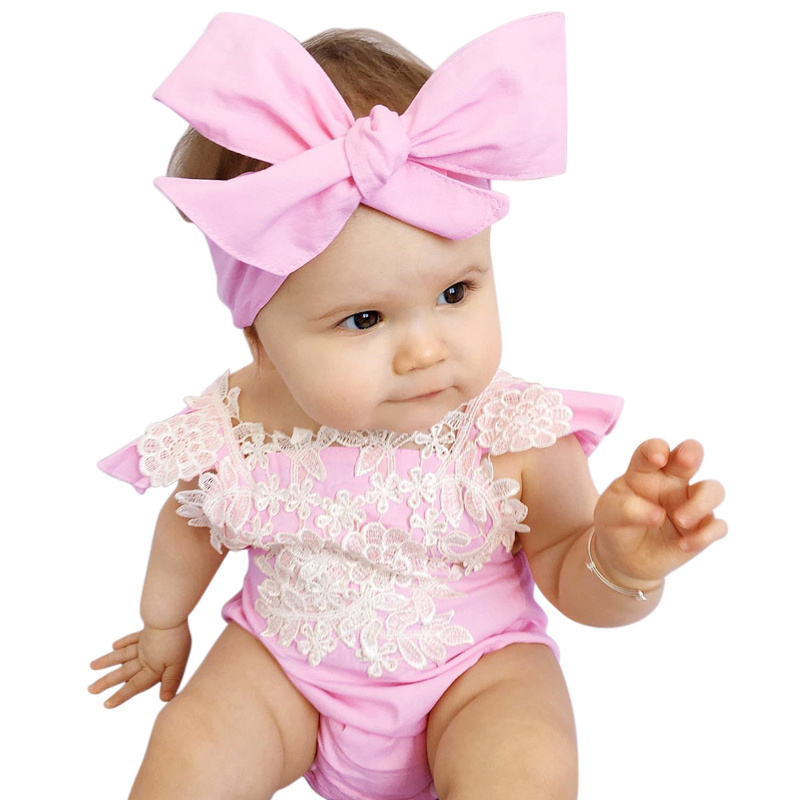 2017 Summer Cute Baby Girls Clothing Lace Flower Rompers + Bow Headband Pink Outfits Newborn ...