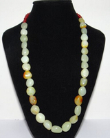 N2956 China Nature Hetian Jade Yellow Skin Beads Hand Made Necklace Pendants (A0325)