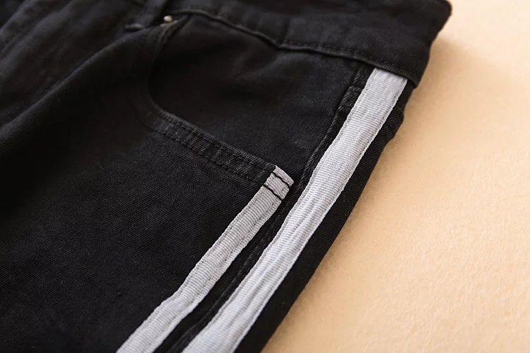 Fetoo 17 High waist jeans women skinny flare pants side stripe Spliced jeans moustache street ankle-length pants elegant S-XL 25