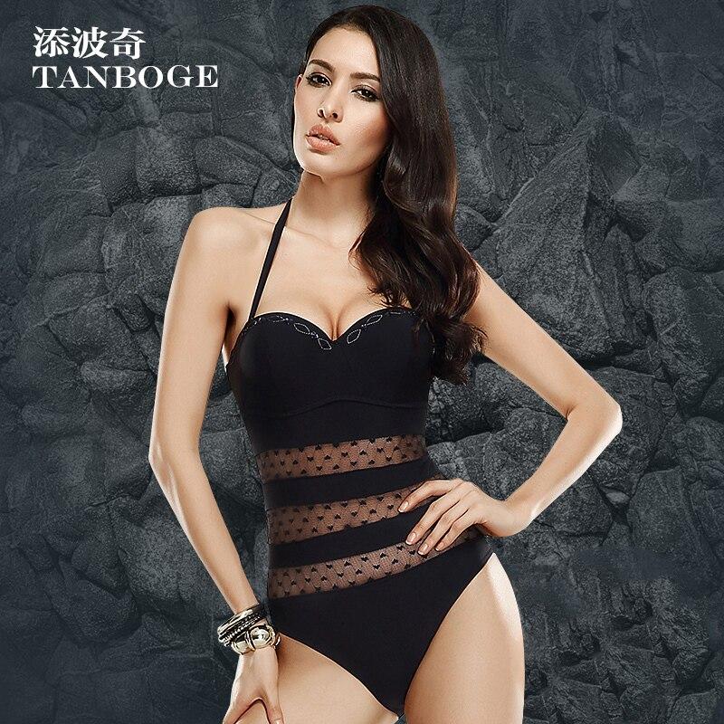 TANBOGE Swimming Suit Women Mesh One Piece Swimwear See-through Push Swimsuit Bathing Beachsuit Beachwear Monokini - Foshan Xiang Yu Tak Garments Co., Ltd. store