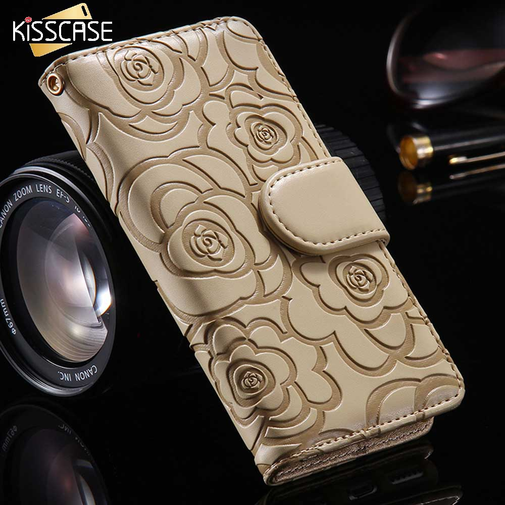 KISSCASE Camellia Flower Leather Case For iPhone 6 6S 6S Plus 5 5S SE Book Flip Stand Wallet Cover For iPhone 6 6S 7 5 Plus Case