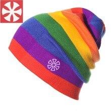 252b642c438 CaiZhongHai   B3 Rainbow Stripes Winter Hats For Women   Men Knitted  Beanies Caps Fashion Warm Hip Hop Skull Beanie Men