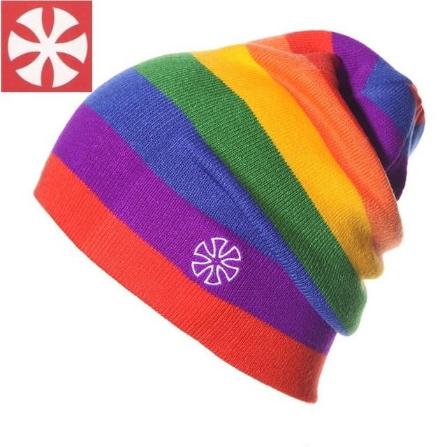 CaiZhongHai / B3 Rainbow Stripes Winter Hats For Women & Men Knitted Beanies Caps Fashion Warm Hip Hop Skull Beanie Men