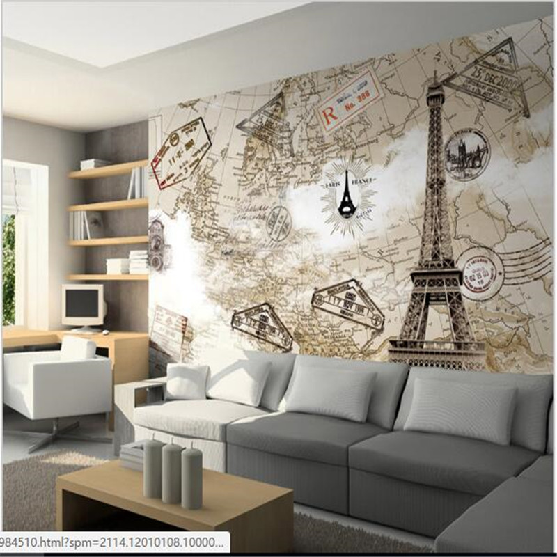 Custom photo wallpaper 3d world map eiffel tower large for Living room 3d tiles