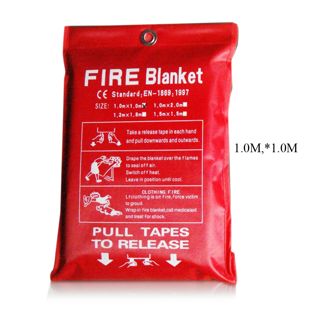 1M X 1M Fire Blanket Glass Fiber Fire Retardant Emergency Rescue Fire Protection Cover Safety Emergency Blanket