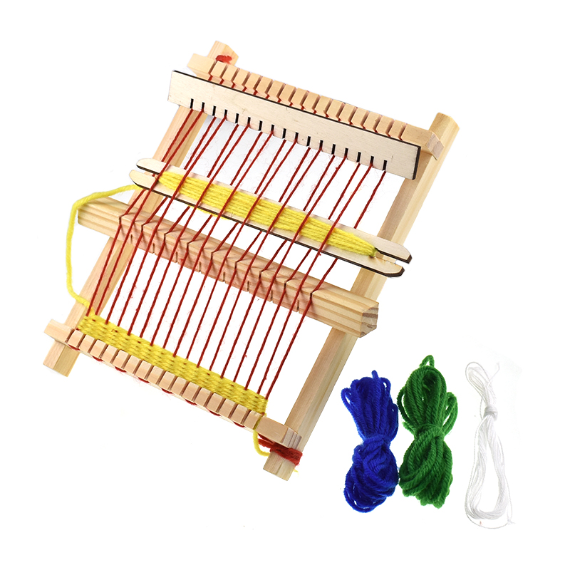 Mini DIY Wooden Traditional Weaving Toy Loom Educational Handmade Knitting Machine For Children Easy Operate Toy Weaving Loom