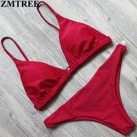 ZMTREE Swimwear Women Bikini Set Red Yellow Solid Color Swimwear 2017 Crochet Bikini Sexy Beach Bathing
