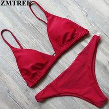 ZMTREE Swimwear Women Bikini Set Red Yellow Solid Color Swimwear 2017 Crochet Bikini Sexy Beach Bathing Suit Brazilian Biquini