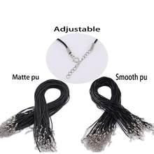 Lot de 10 fermoirs en cuir noir de 1.8mm de diamètre, cordon ajustable de 52cm pour la fabrication de bijoux