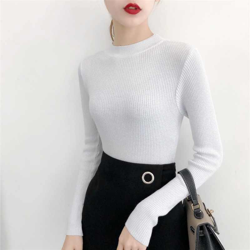 Novo 2019 outono e inverno fino meia-pescoço camisola feminina de seda brilhante de malha camisola de manga comprida camisola de fundo jumpers