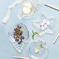 2 Pack Nordic Ocean Phnom Penh Glass Plate Creative Dessert Snack Pan Fruit Simple Jewelry Storage Plate