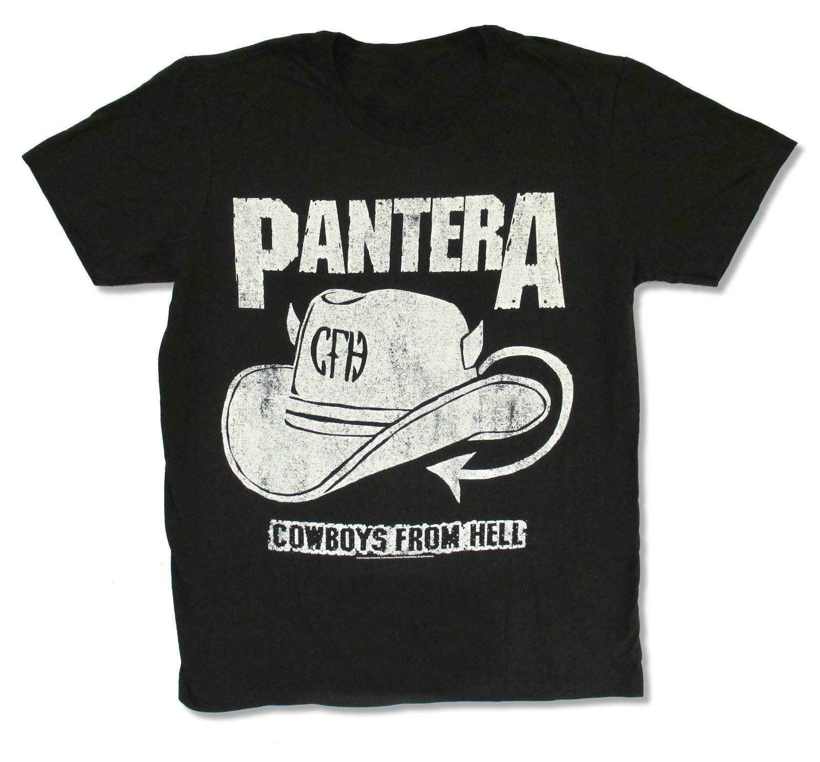 Design your own eco-friendly t-shirt - Pantera Distressed Hat Black T Shirt New Official Adult Design And Print Your Own T Shirt