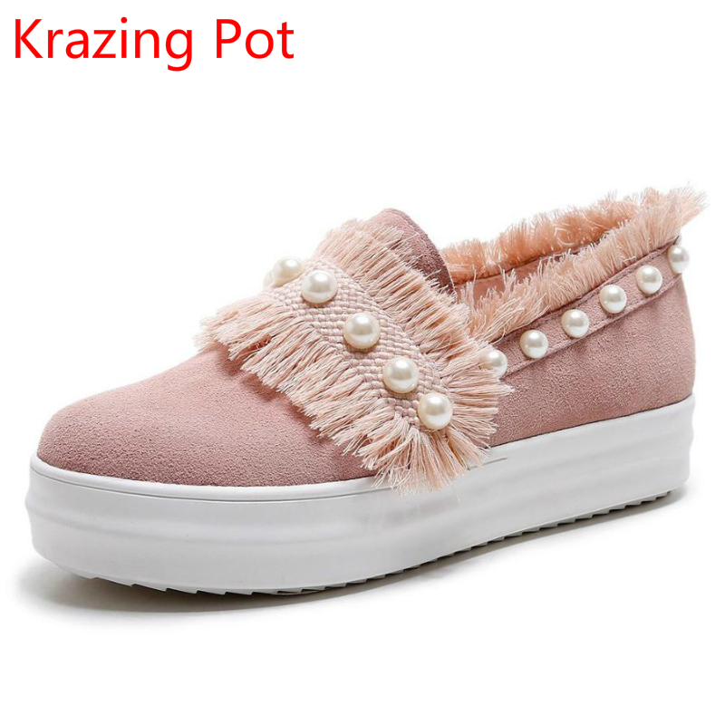 2018 New Arrival Cow Suede Med Heel Tassel Pearl Slip on Leisure Round Toe Casual Sneakers Increased Women Vulcanized Shoes L00 round toe suede slip on plimsolls