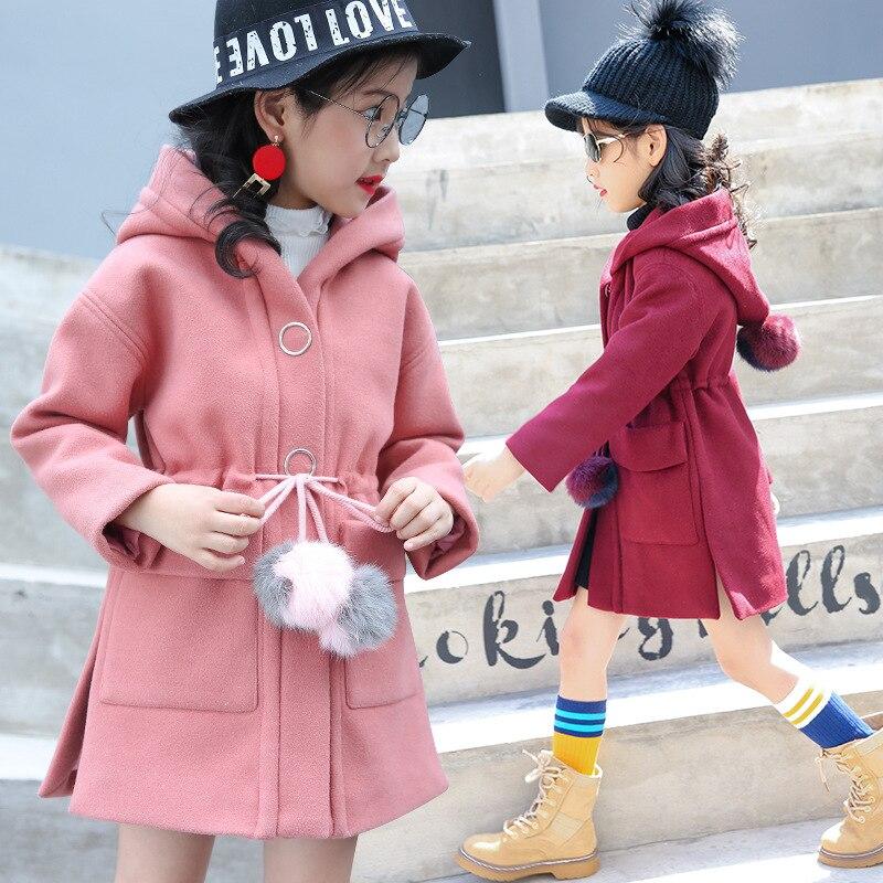 Children clothing 2017 autumn winter woolen garment long jacket coat hooded outerwear for 4 5 6 7 8 9 10 11 12 13 14 years girl