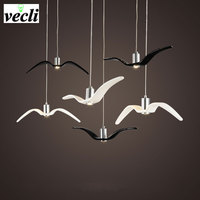 Birds pendant lights vintage lamp resin bird fabric lampshade for kitchen lighting Study dining room retro loft pendant lamp