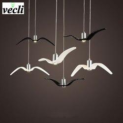 Birds pendant lights vintage <font><b>lamp</b></font> resin bird fabric lampshade for kitchen lighting Study dining room retro loft pendant <font><b>lamp</b></font>