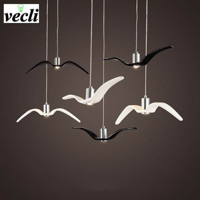 Birds pendant lights vintage lamp resin bird fabric lampshade for kitchen lighting Study dining room retro loft pendant lamp