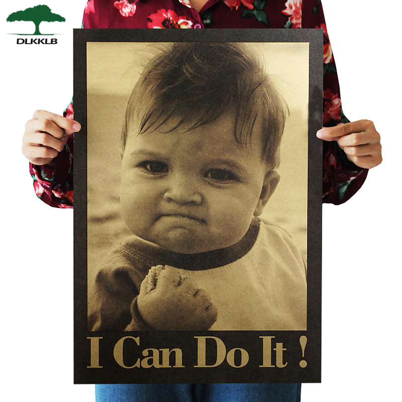 Dlkklb I Can Do It Nostalgic Poster Child Kraft Paper Poster Bar Cafe Decorative Painting Poster Wall Sticker 51.5x36cm