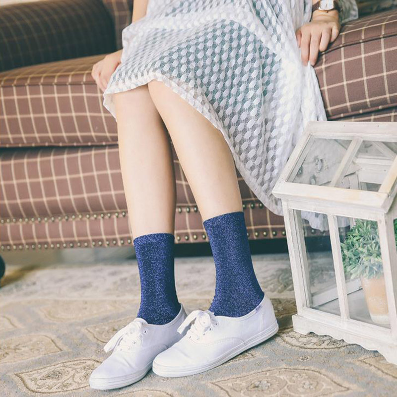Fashion Women Shiny Silk Pure Color   Socks   Meias Cute Spring Summer Short   Socks   FS99