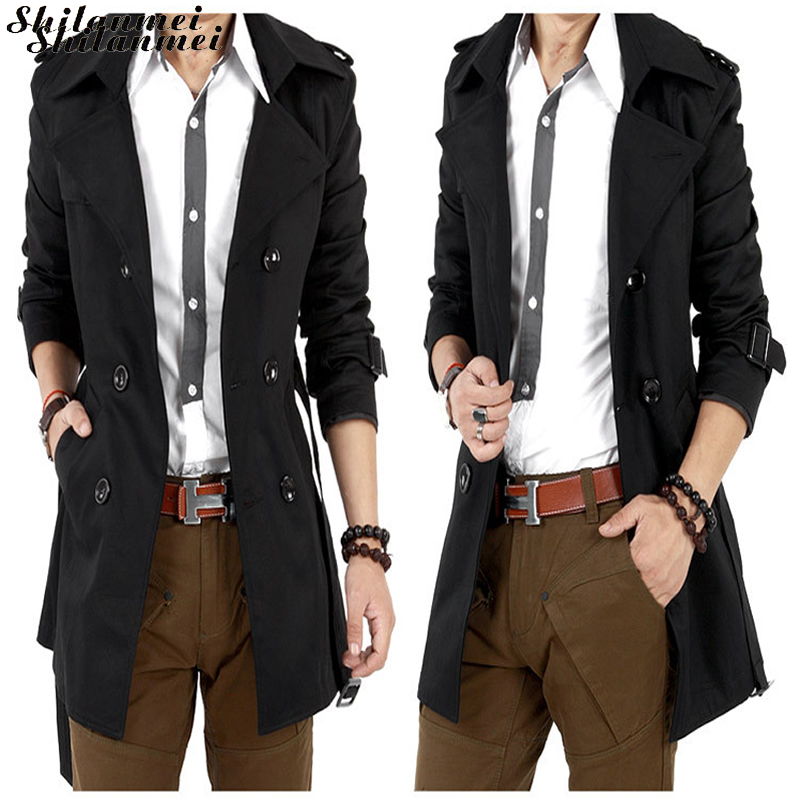 Mens   Trench   Coat 2018 New Fashion Designer Men Long Coat Autumn Winter Double-breasted Windproof Slim Belt   Trench   Coat Men S-3XL