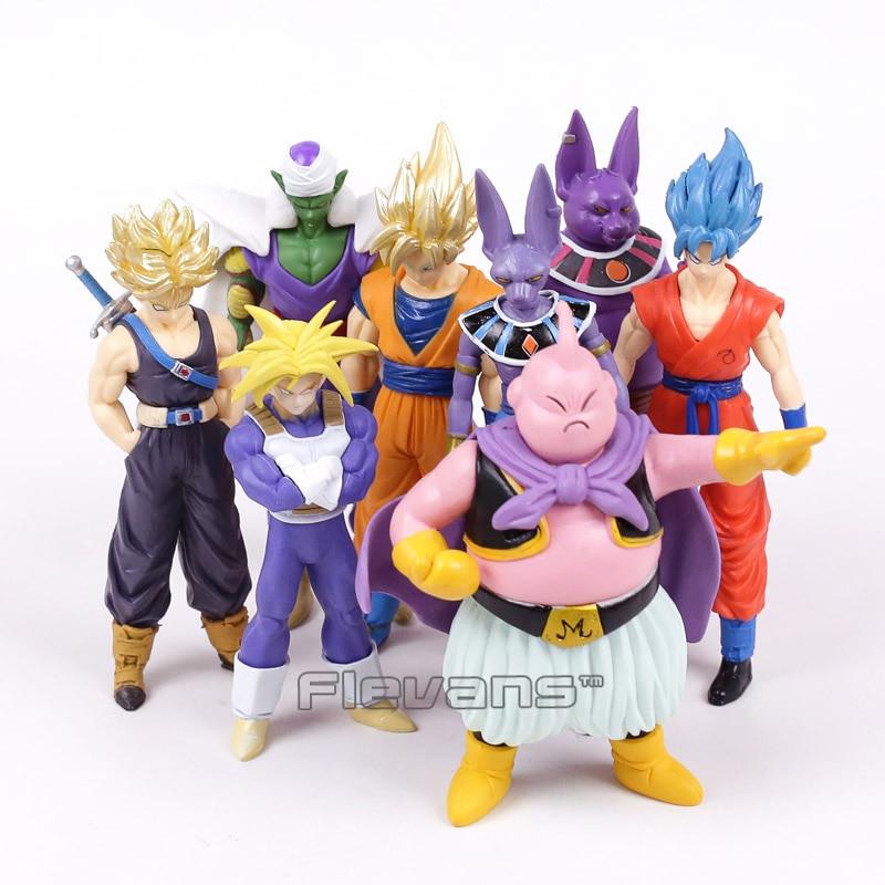 все цены на Dragon Ball Z Super Saiyan Goku Trunks Champa Beerus Piccolo Majin Buu PVC Figures Collectible Model Toys 8pcs/set 13~16cm онлайн