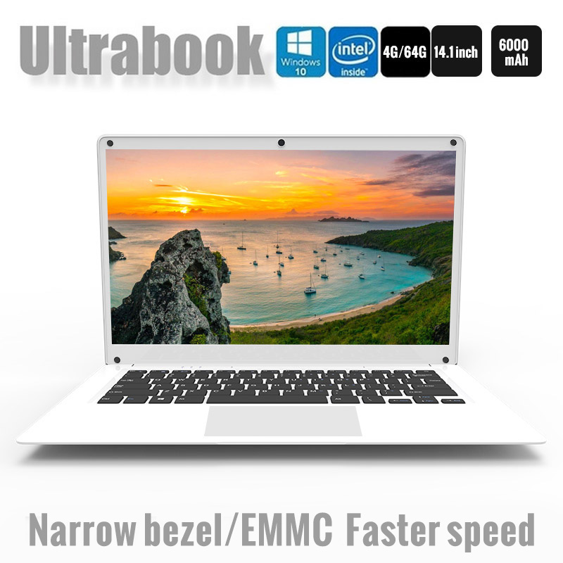 14.1 Inch Exquisite Laptop Windows 10 Quad core Intel Cherry Trail Z8350 4GB 64GB Ultrabook Dual Camera notebook