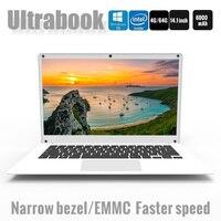 14.1 Inch Exquisite Laptop Windows 10 Quad core Intel Cherry Trail Z8350 4GB 64GB Ultrabook Dual Camera notebook