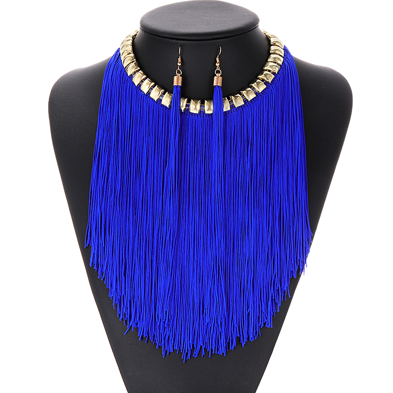 Fringed Tassel Necklace and Earrings Set