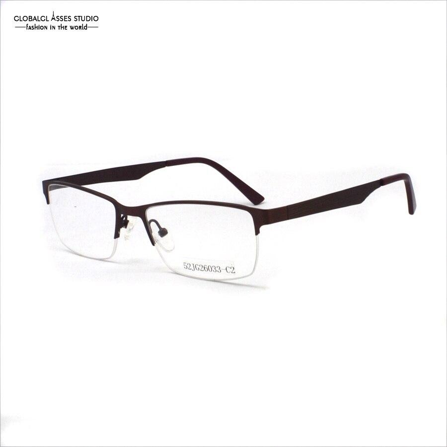 d42414eac6554 Homens de Alta Qualidade marrom moldura Redonda E Dobradiça half-quadro  Óculos Frame Óculos Armações 52JG26033-C2