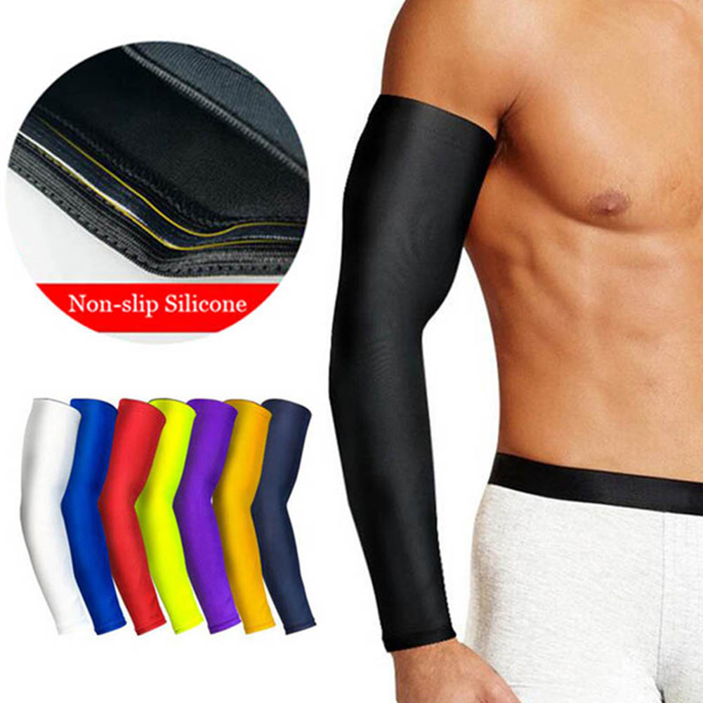 1Pc Breathable Quick Dry UV Protection Running Arm Sleeves Basketball Elbow Pad Men Summer Solid Sunscreen Sleeve Holder Cover