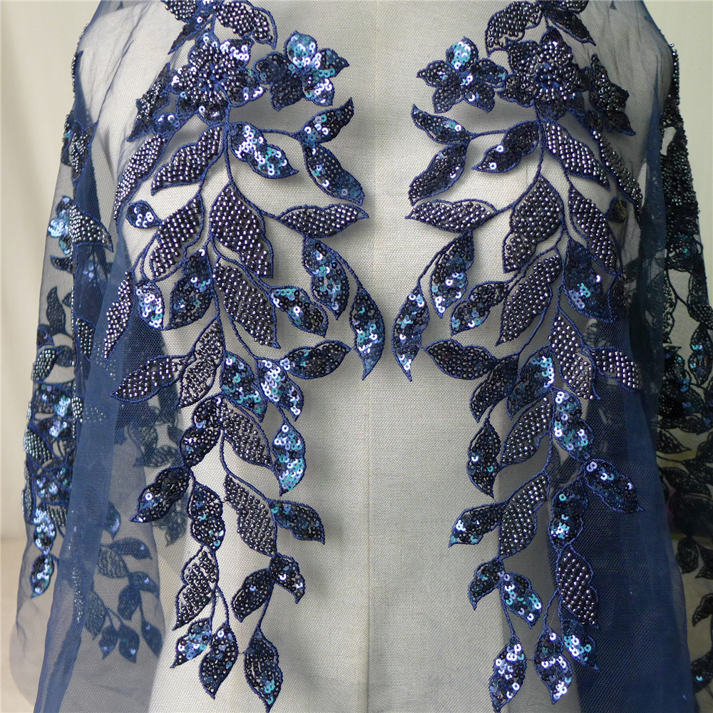 1 Yard Exquisite Leaf Pattern Pearl Beaded Lace Fabric With Sequins Navy Blue Pink Red Wedding Veils, Bridal Gowns