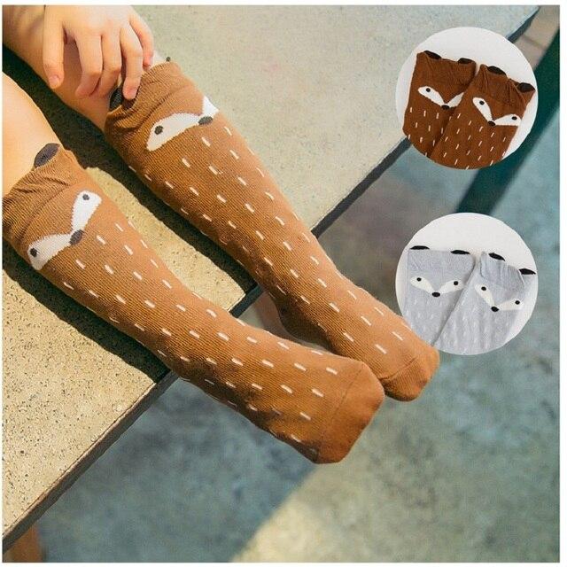 1 Pair Unisex Lovely Cute Cartoon Fox Kids baby Socks Knee Girl Boy Baby Toddler Socks animal infant Soft Cotton socks 0-3 Y 2