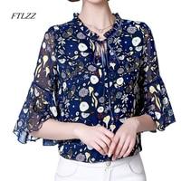 FTLZZ Women Chiffon Flare Shirt Spring Summer New Sweet Stand Collar Butterfly Sleeve Slim Chiffon Tops