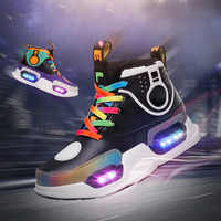 children casual shoes with light usb charge toddler boy shoes leather glowing sneakers for girls sneakers Led kids lighted shoes