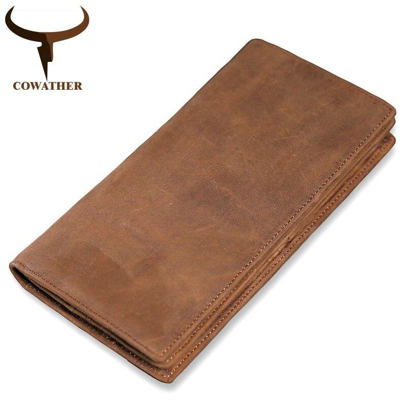 COWATHER hohe qualität kuh echtes leder brieftasche männer 2019 Crazy horse leder lange stil vintage männer brieftaschen M9024 freies verschiffen