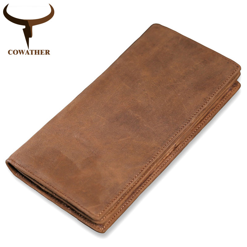COWATHER High Quality Cow Genuine Leather Wallet Men 2019 Crazy Horse Leather Long Style Vintage Men Wallets M9024 Free Shipping