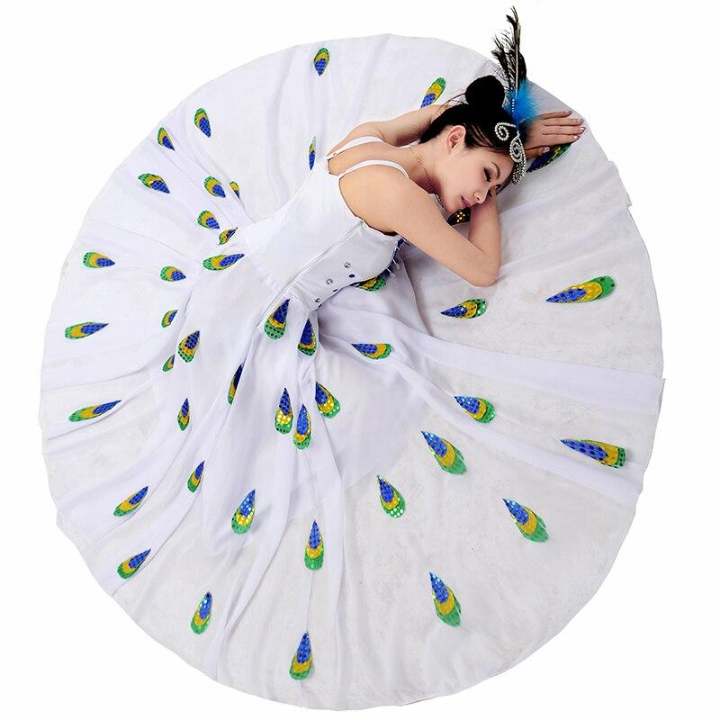 Chinois Costumes Des Minorités pour Femmes Blanc National Paon De Danse Costumes Pavaner Robe D'expansion Chinois Folk Performance Usure