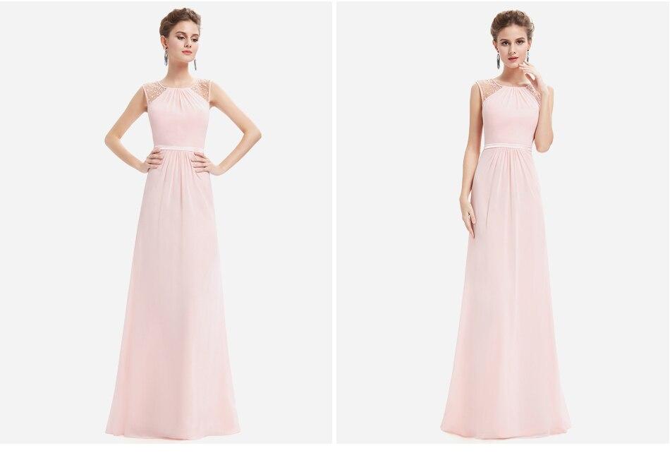 Elegant Chiffon Empire Sleeveless Lace Long Bridesmaid Dress 4