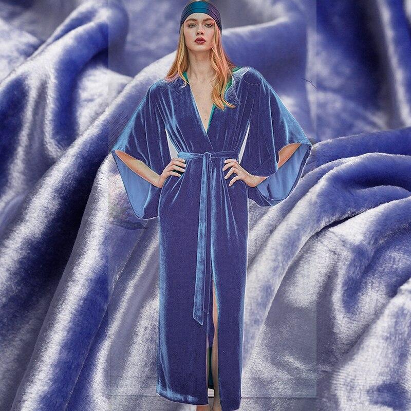 Pearlsilk Sky Blue Long Velvet Fabric Silk and Cotton Garment Materials Spring Dress DIY clothes fabrics