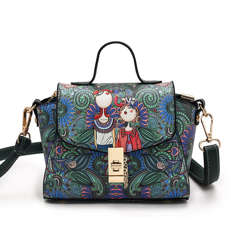 ФОТО Unique Vintage Printing Trapeze Designer Handbags High Quality Stylish Small Crossbody Bag for Women Shoulder Bags with Lock