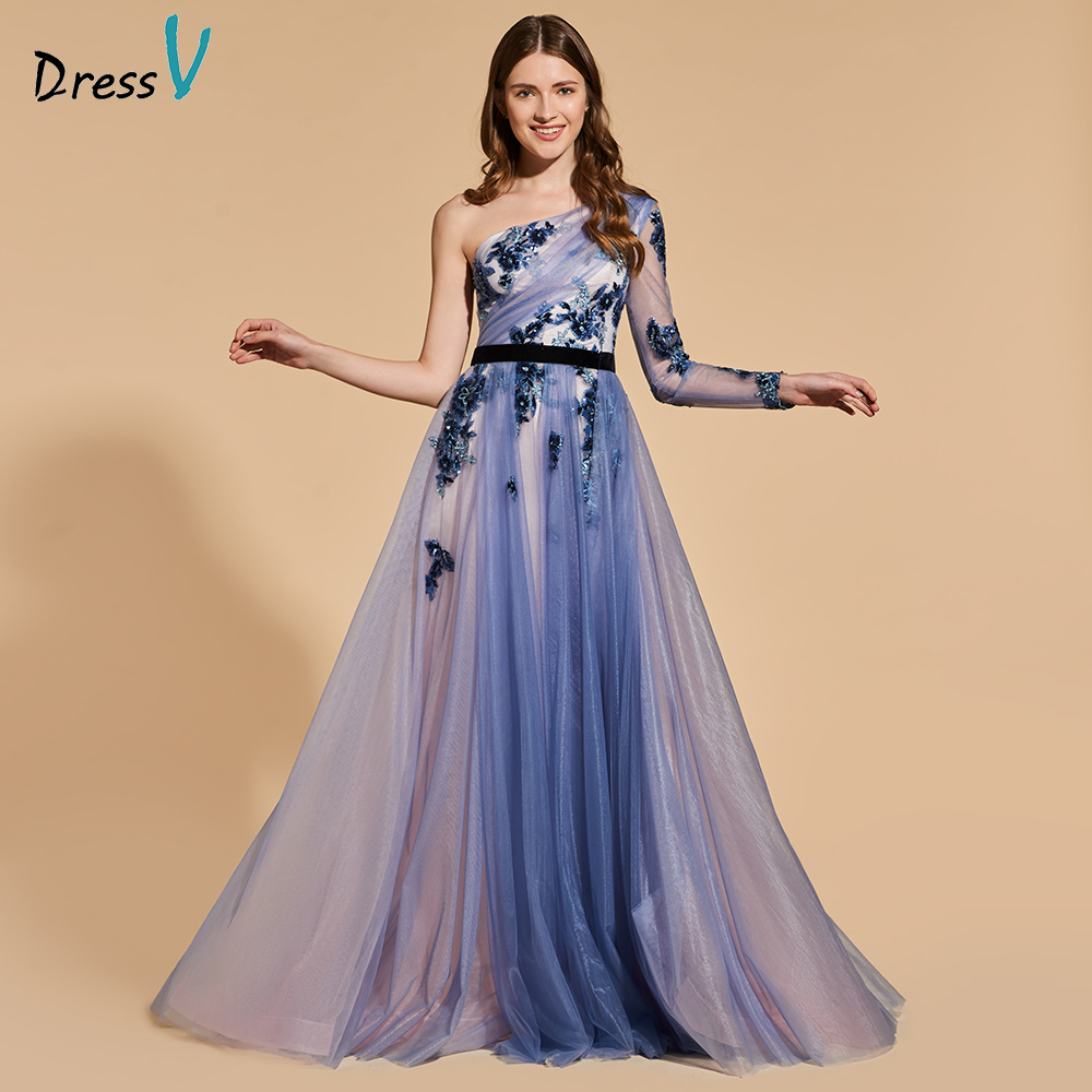 Dressv 2018 elegant long   prom     dress   one shoulder beading a-line floor length evening party gown lace   prom     dresses   customize