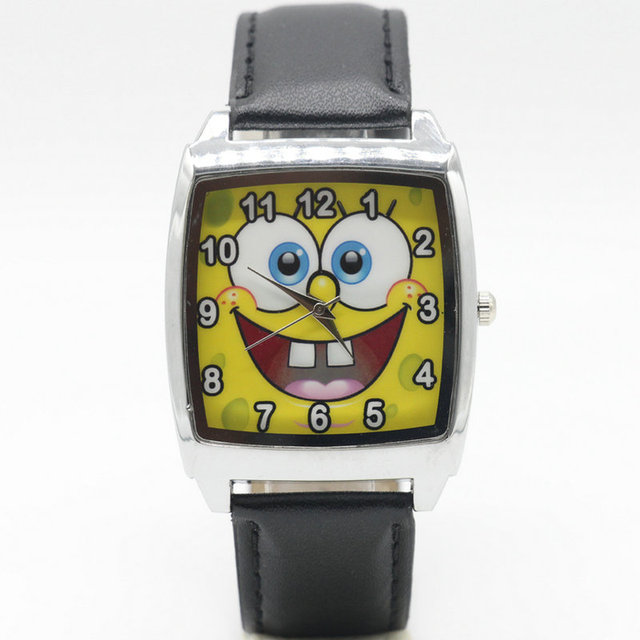 Free Shipping Spongebob cartoon children watches students kids wristwatch watche