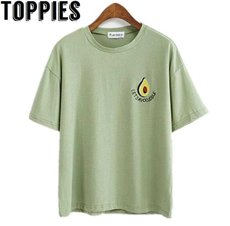 2018 Summer New O-neck Short Sleeves Embroidery Avocado T-shirt Kawaii Tumblr Japnese Style T shirt Green White Tops