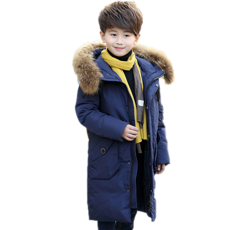 2017 Big Boy Down Jacket Winter Boys Thickening Duck Down Jackets Coats Fur Hooded Long Winter Warm Children's Outerwear  Coats 100% white duck down women coat fashion solid hooded fox fur detachable collar winter coats elegant long down coats