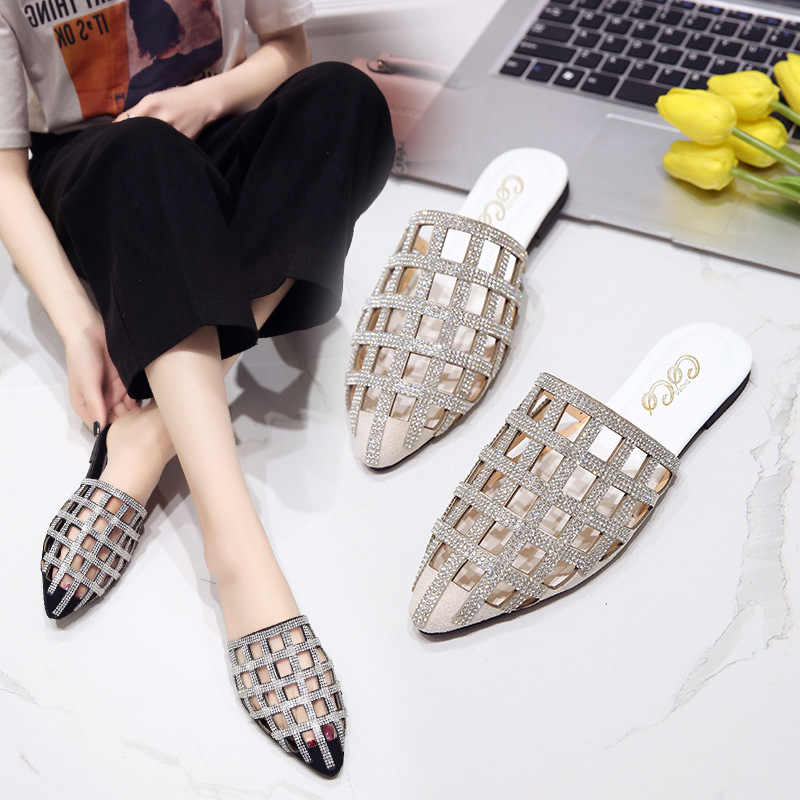 Half-lost female new pointed rhinestone hollow sandals female casual fashion flat wear outside women's shoes