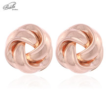 Badu Frosted Rose Gold Metal Stud Earrings for Women Big Flower Shape Romantic Fashion Jewelry Gift