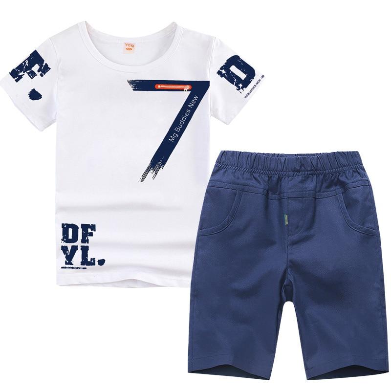 3-14Y Big Size Boys Clothing Fashion Print Children Clothing 2018 Summer Boys Clothing Sets Short Sleeve Kids Clothes for Boys недорго, оригинальная цена