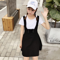 Hunter-wish New Han Edition College Wind 2017 Summer Style Ladies Sweet White T-shirt+ Straps Dress Women 1Set